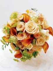 Sweet Peach Rose & Calla Lily Bridal Bouquet