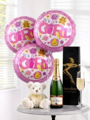 Baby girl flowers gifts perth flowers celebratory champagne baby girl balloons and teddy bear negle Gallery